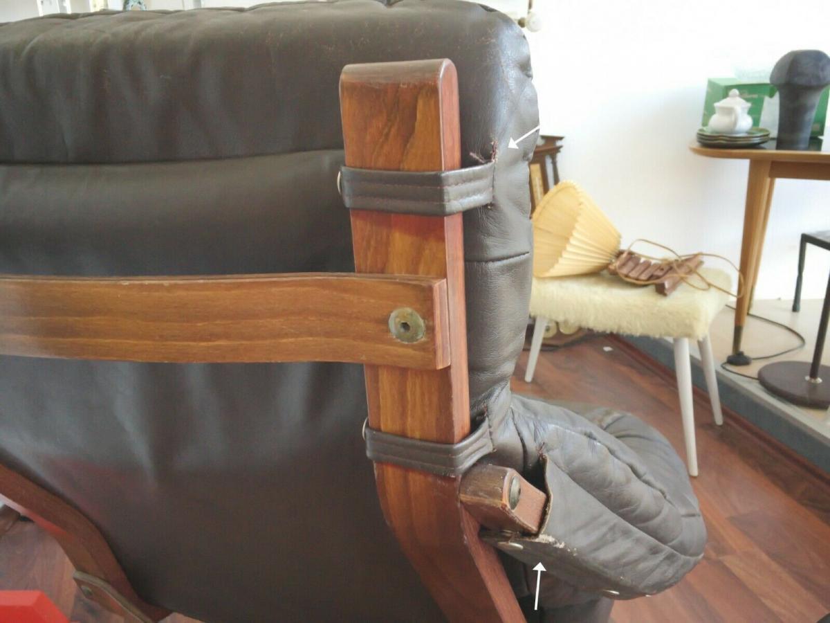 Mid Century Loungechair Ottomane Ledersessel teilrestauriert drehbar 60er 70er 4