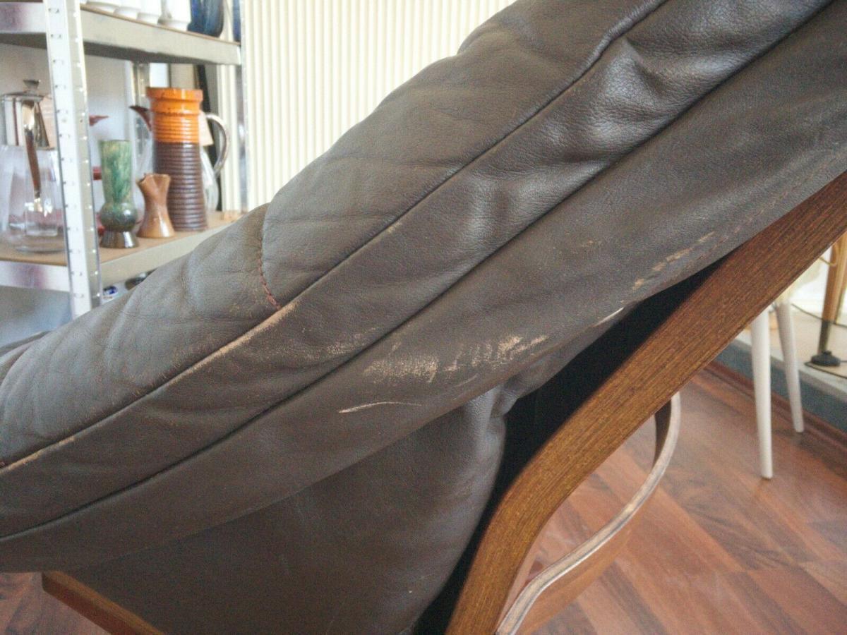 Mid Century Loungechair Ottomane Ledersessel teilrestauriert drehbar 60er 70er 5