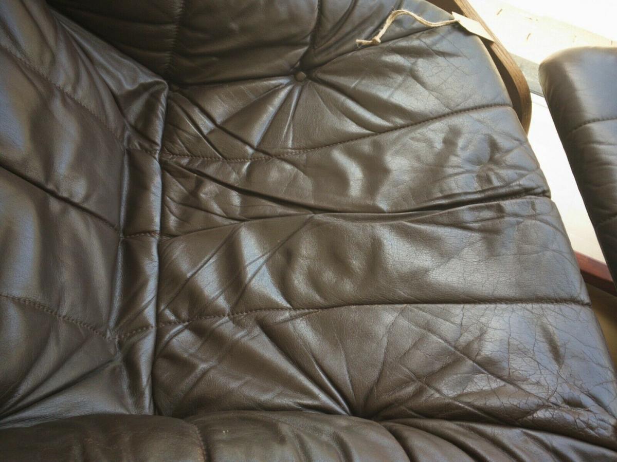 Mid Century Loungechair Ottomane Ledersessel teilrestauriert drehbar 60er 70er 8