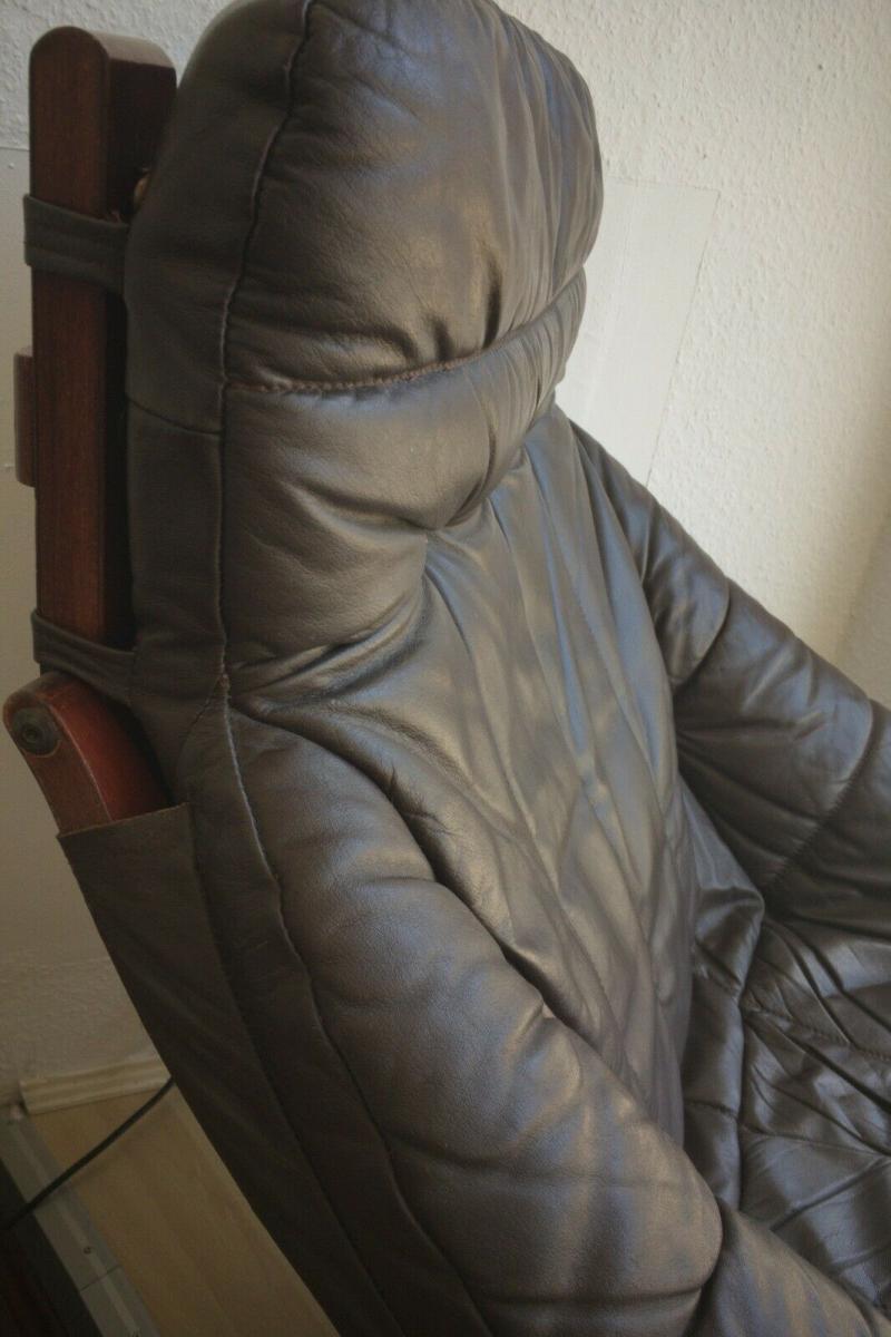 Mid Century Loungechair Ottomane Ledersessel teilrestauriert drehbar 60er 70er 9