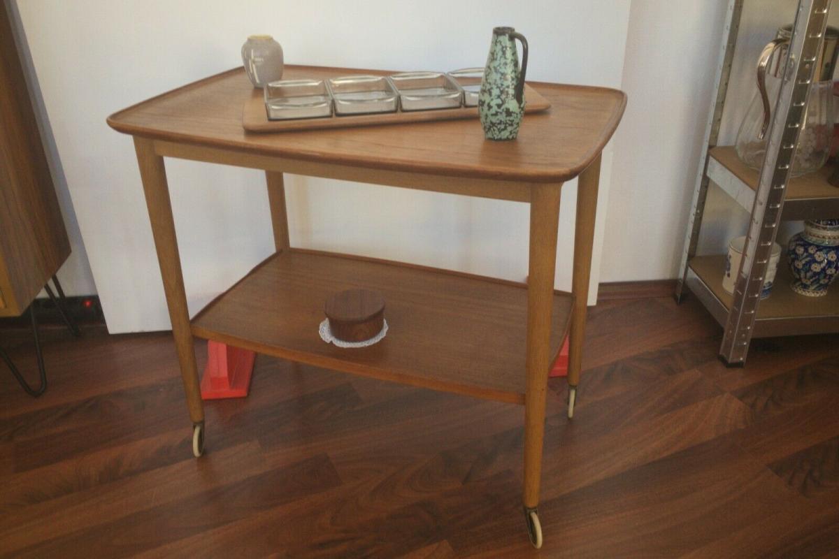 Teak Teewagen, Servierwagen aus Teakholz Made in Denmark | 60er Jahre 1
