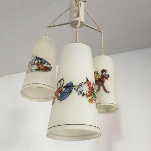 Vintage Lampe Deckenlampe Kinderzimmer DISNEY FIGUREN handbemalt ? 50ER Jahre