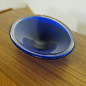 Blaue murano glas schale oval vintage glasschale anbietschale dekoschale 60er