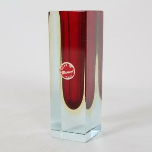 60er 70er kleine MURANO GLAS Vase Glasvase rot Blumenvase Designvase ITALY