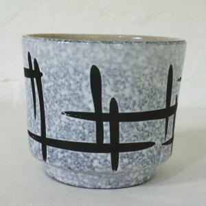 60er 70er Jahre KERAMIK ÜBERTOPF Blumentopf Schwarz weiße Glasur SPACE AGE ÄRA
