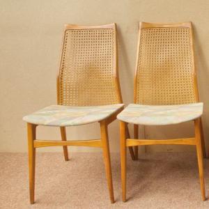 Benze möbel 4x polsterstuhl esszimmerstuhl stuhl kirschbaum wiener geflecht 50er