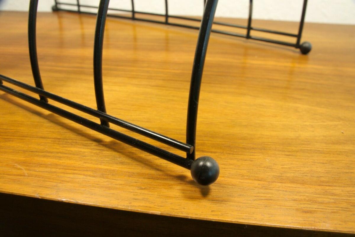 Lp ständer vinyl aufbewahrung im string stil schwarz schallplattenständer 60er 4