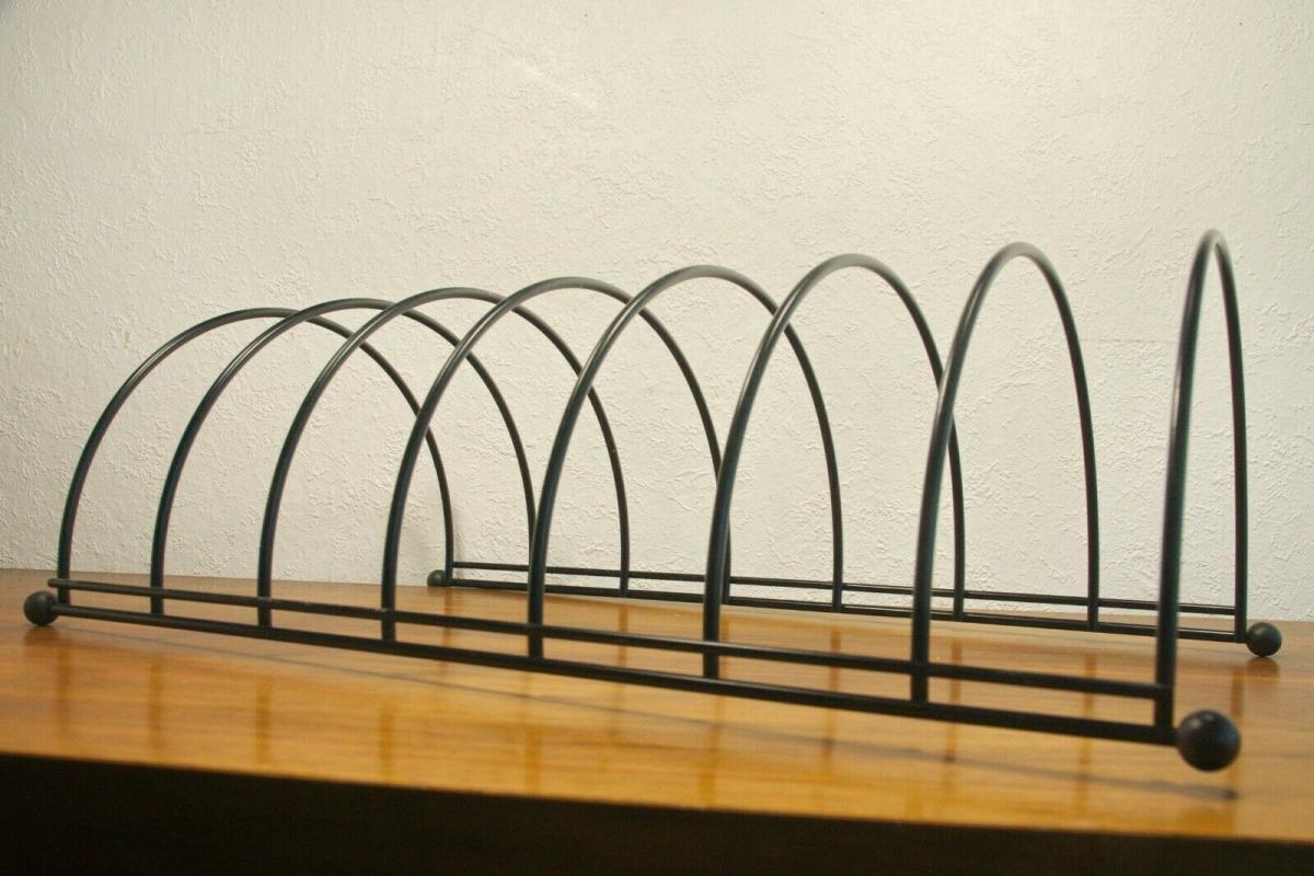 Lp ständer vinyl aufbewahrung im string stil schwarz schallplattenständer 60er 6