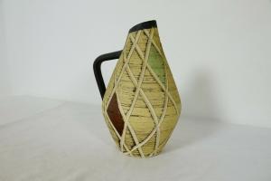 Sp hillscheid keramikvase mit ritzdekor handarbeit 66-20 vintage vase 50er jahre