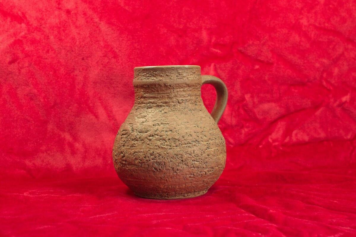 Gb keramikkrug keramikvase krugvase handarbeit rauhe glasur braun 60er jahre 0