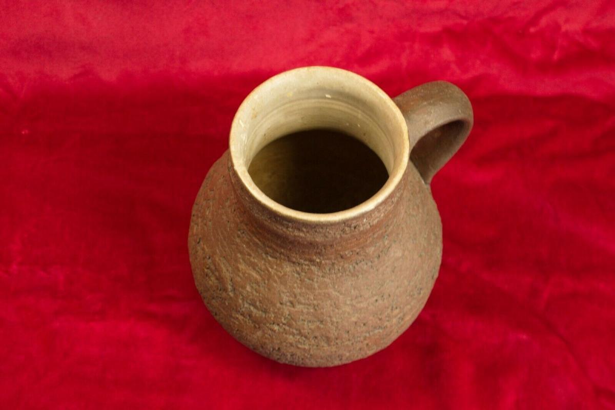 Gb keramikkrug keramikvase krugvase handarbeit rauhe glasur braun 60er jahre 1