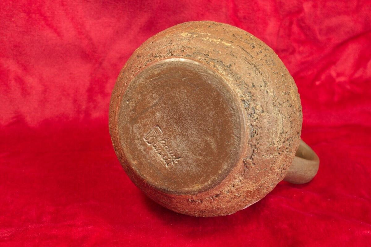 Gb keramikkrug keramikvase krugvase handarbeit rauhe glasur braun 60er jahre 2