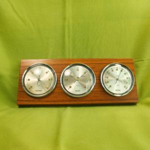 Teak wetterstation innen thermometer barometer hygrometer sundo 60er horizontal