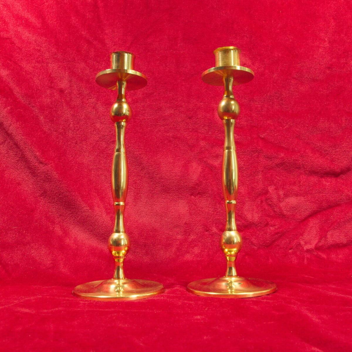 Paar vermessingte tischleuchter kerzenleuchter kerzenständer gold 60er jahre 0