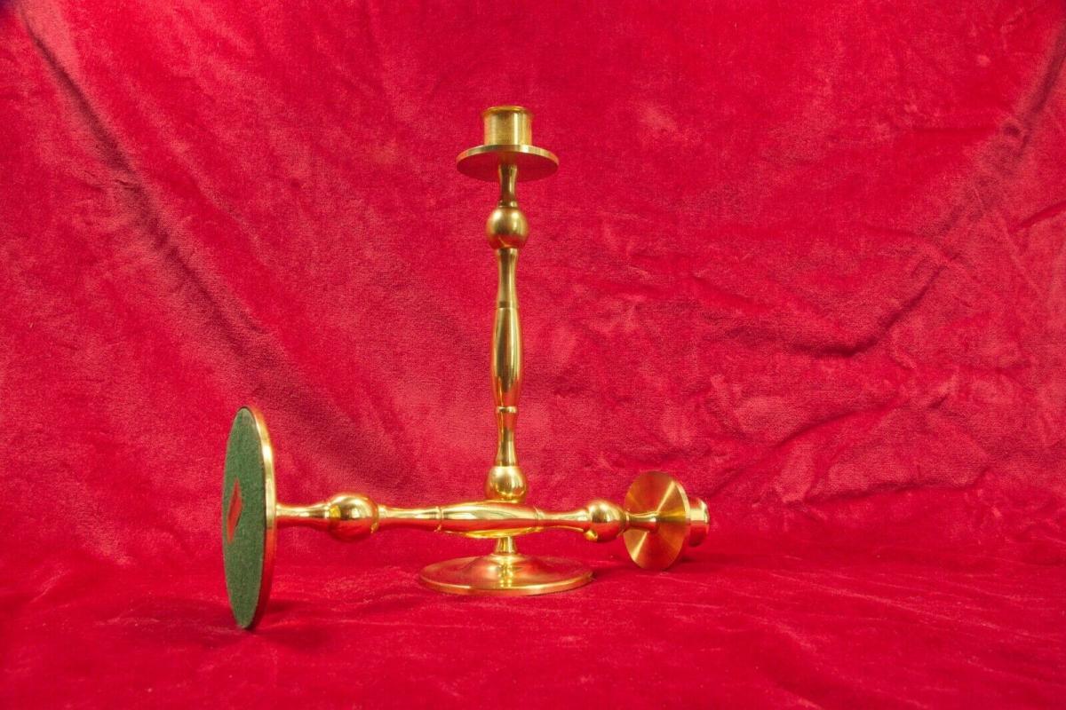 Paar vermessingte tischleuchter kerzenleuchter kerzenständer gold 60er jahre 1