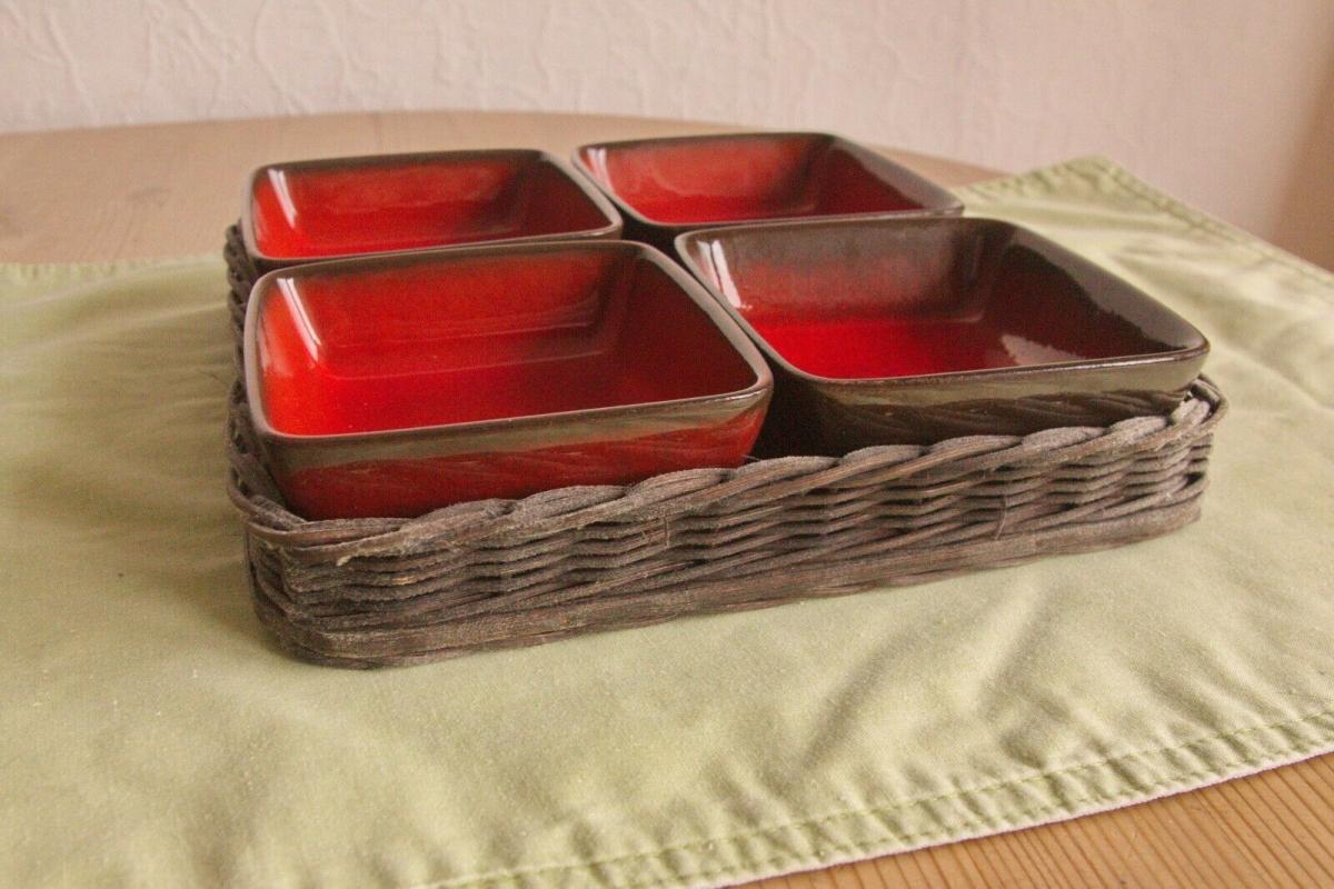 4x anbietschale keramikschale schale in rot mit tablett keramik manufaktur 60er 0