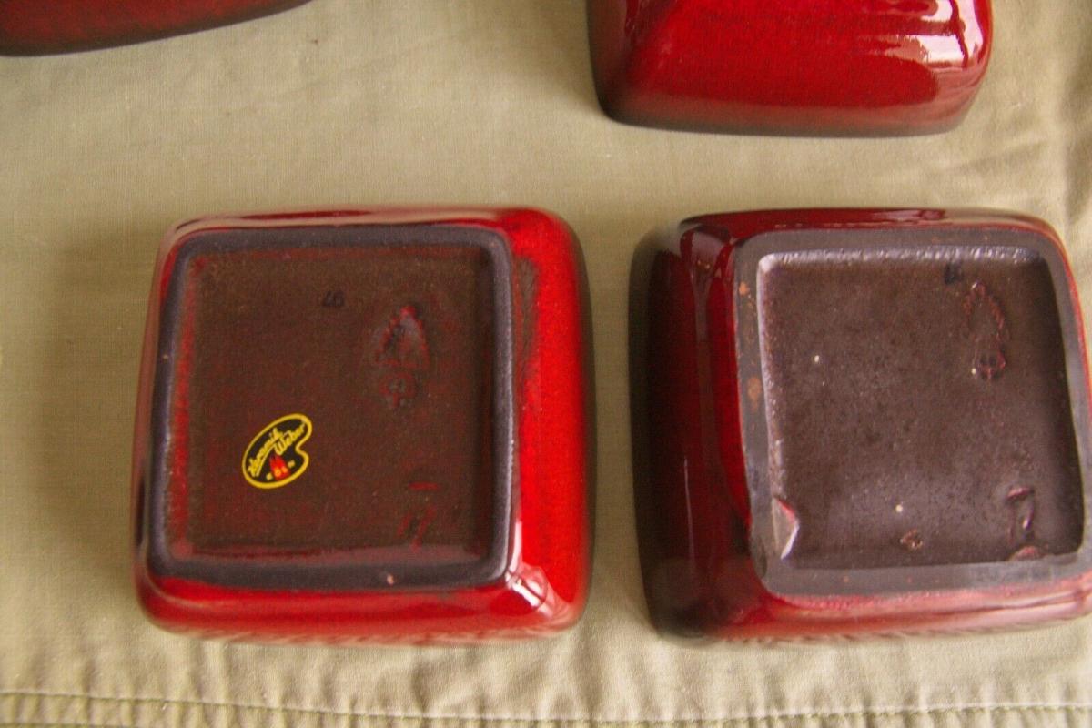 4x anbietschale keramikschale schale in rot mit tablett keramik manufaktur 60er 1