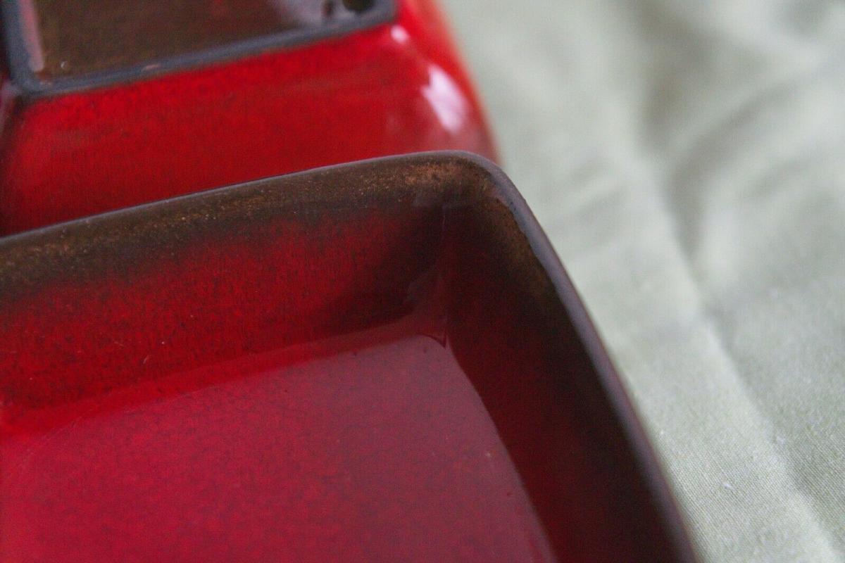 4x anbietschale keramikschale schale in rot mit tablett keramik manufaktur 60er 2