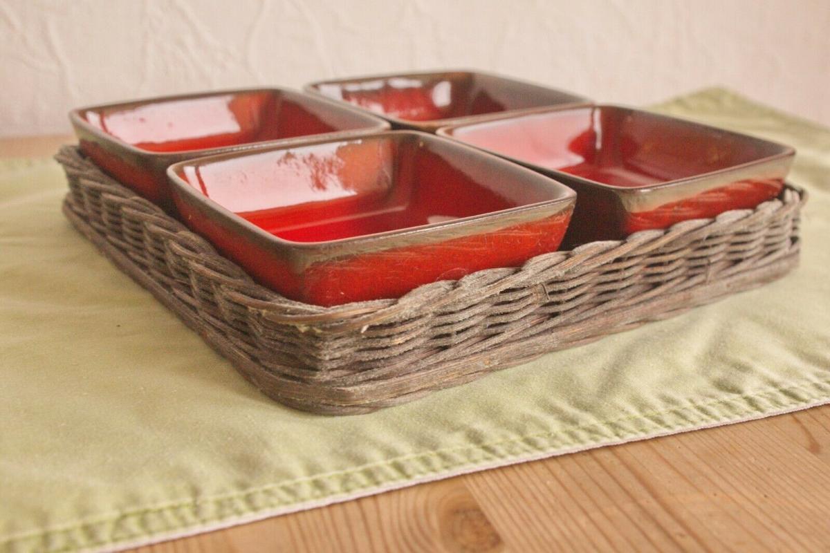 4x anbietschale keramikschale schale in rot mit tablett keramik manufaktur 60er 3
