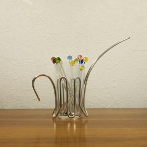 Vintage snack glas mit chrom halter & 12 glaspicker kunstglas manufaktur 60er