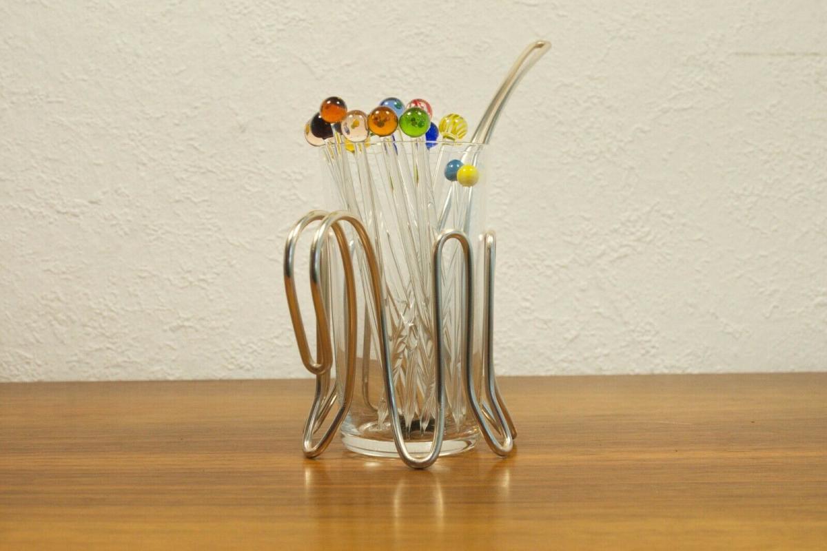 Vintage snack glas mit chrom halter & 12 glaspicker kunstglas manufaktur 60er 1