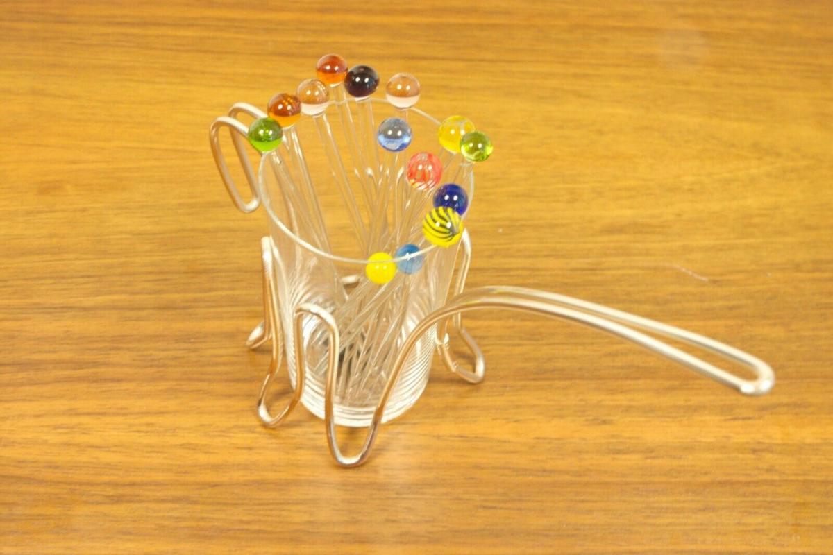 Vintage snack glas mit chrom halter & 12 glaspicker kunstglas manufaktur 60er 3
