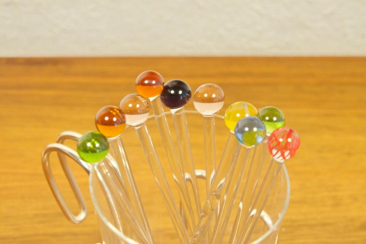 Vintage snack glas mit chrom halter & 12 glaspicker kunstglas manufaktur 60er 5