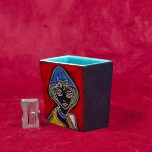 Kleine rechteckig keramikvase designvase wohl italien glasur dekovase 60er jahre