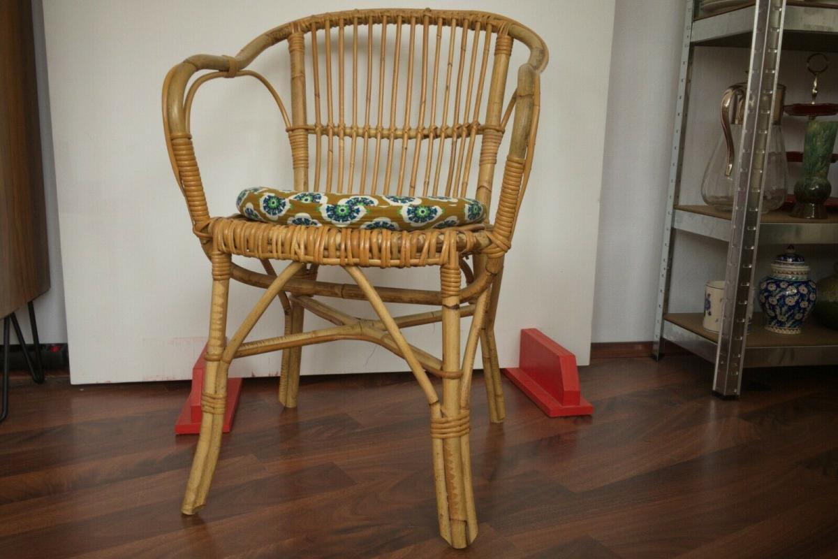 Vintage rattan stuhl sessel, wohl niederlande armlehnenstuhl 50er 60er vintage 0