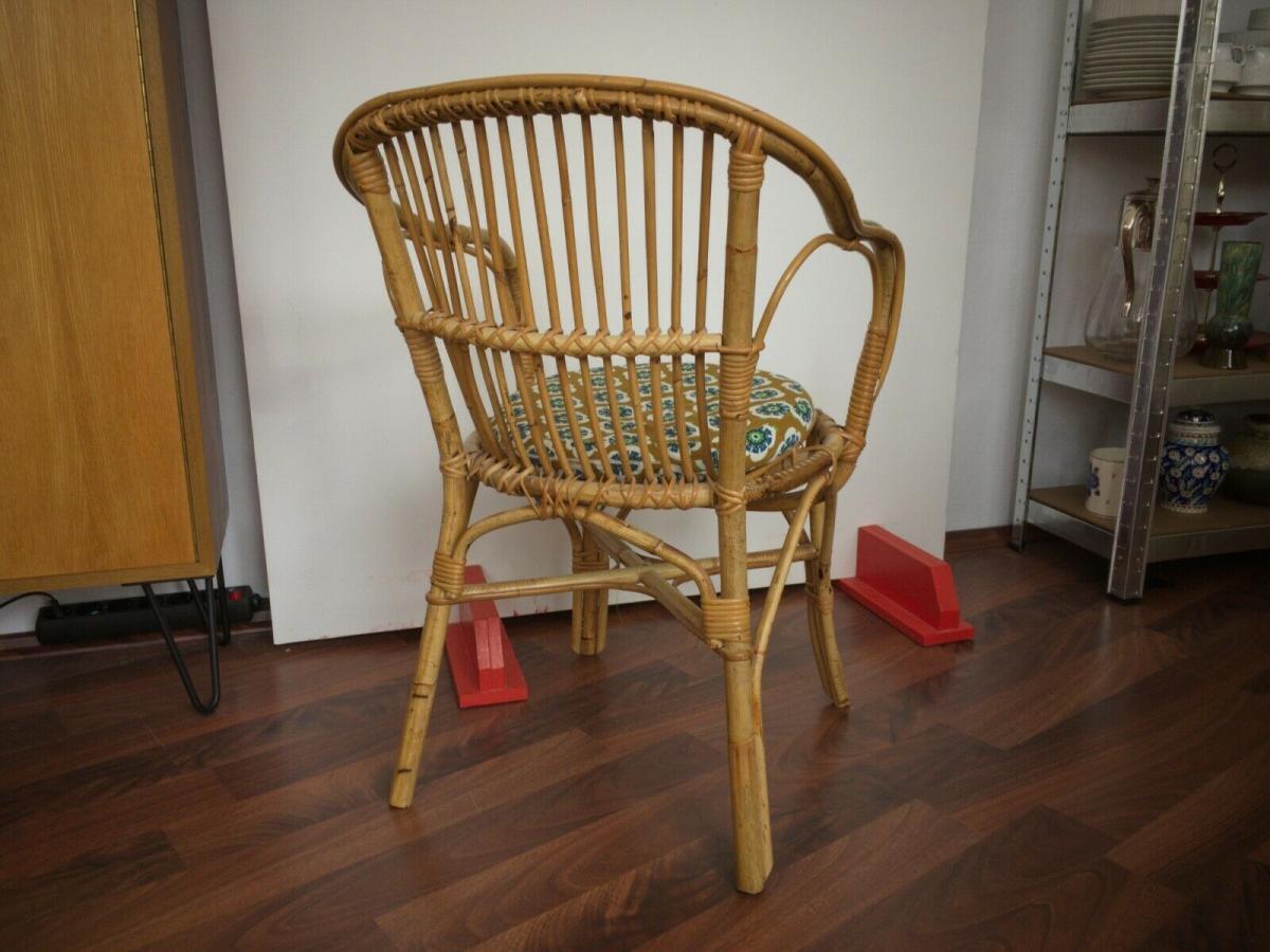 Vintage rattan stuhl sessel, wohl niederlande armlehnenstuhl 50er 60er vintage 1