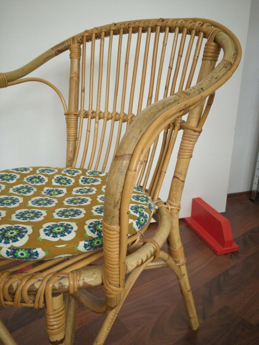 Vintage rattan stuhl sessel, wohl niederlande armlehnenstuhl 50er 60er vintage 2