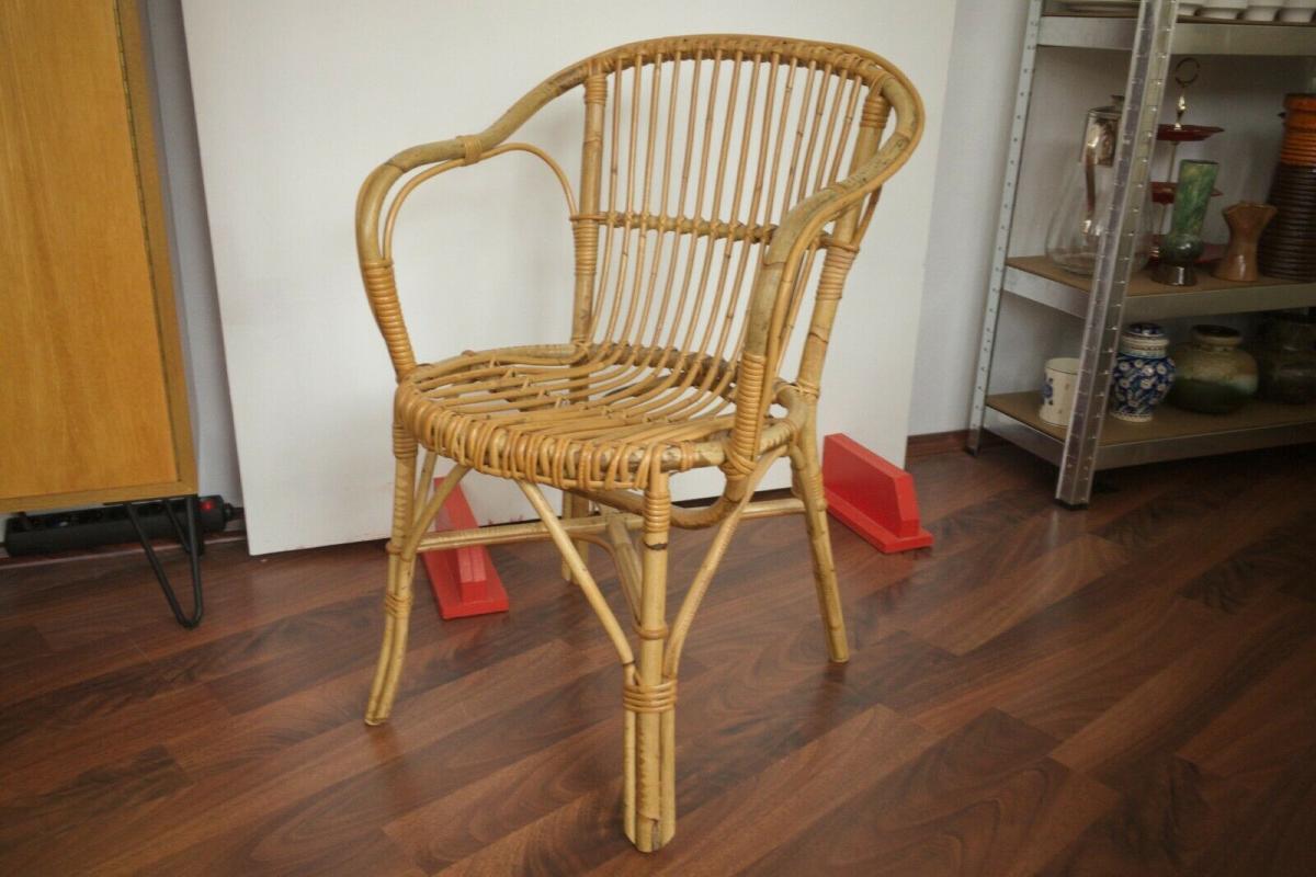 Vintage rattan stuhl sessel, wohl niederlande armlehnenstuhl 50er 60er vintage 3