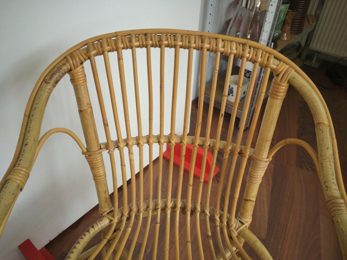 Vintage rattan stuhl sessel, wohl niederlande armlehnenstuhl 50er 60er vintage 4