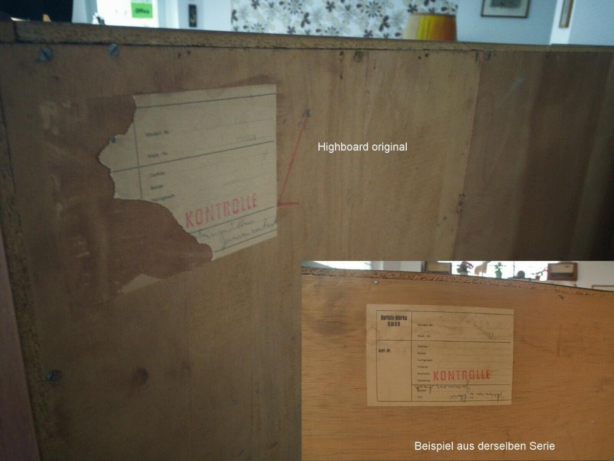 Teak teakholz highboard schrank buffet bartels werke 205 cm 60er danish modern 3