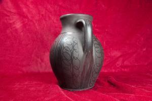 Keramikvase vase krug romania balkan keramik schwarz 301 mr 60er jahre vintage