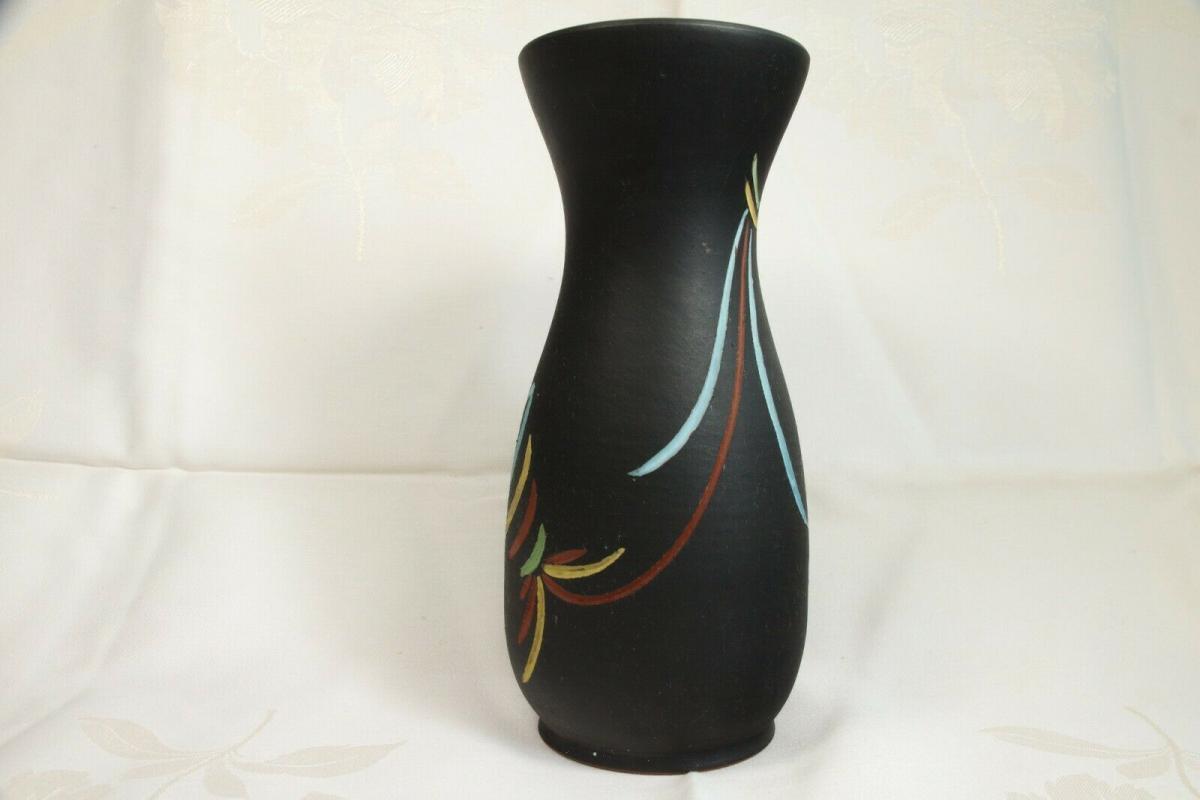 Selten tischvase aus den 50er jahren schwarz vase pastell farben ritzdekor deko 0