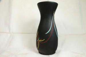 Selten tischvase aus den 50er jahren schwarz vase pastell farben ritzdekor deko