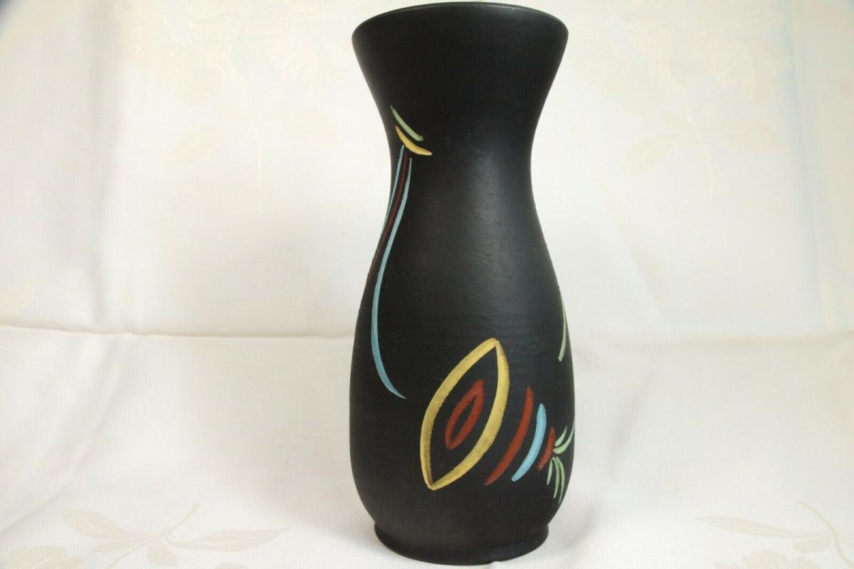 Selten tischvase aus den 50er jahren schwarz vase pastell farben ritzdekor deko 1
