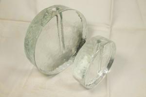 2x vase glasvase orchideenvase rundes design designvase mid century 60er jahre