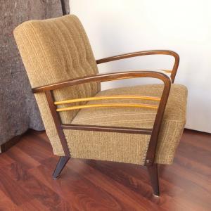 Vintage sessel clubsessel easychair mit holzarmlehnen heller stoff 50er jahre #2