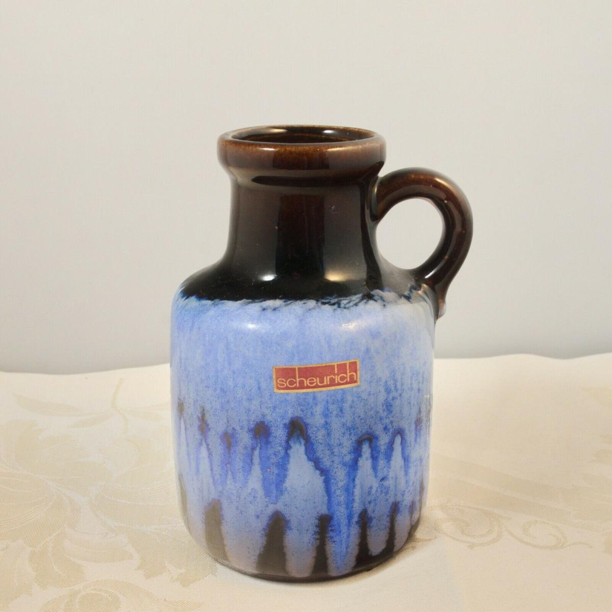 Scheurich vase keramikvase krugvase 414-16 germany blauer verlauf 60er 70er 0