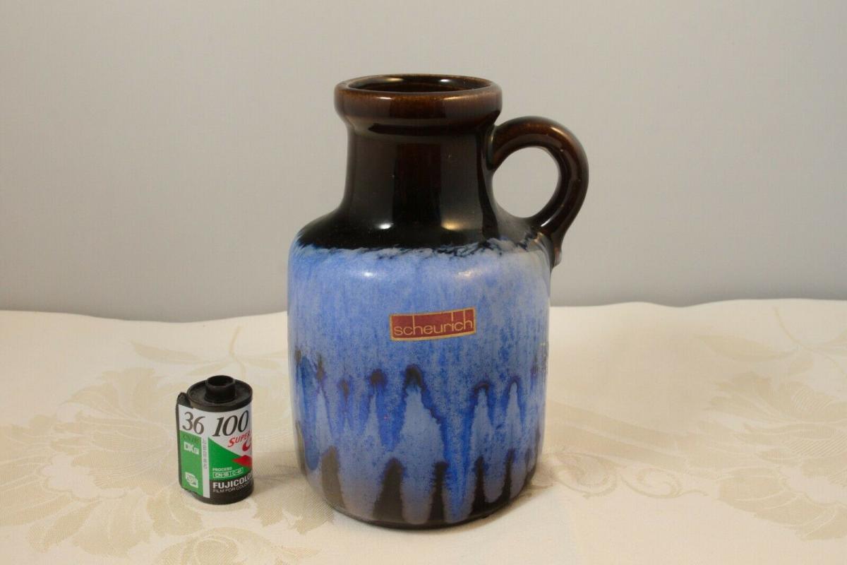 Scheurich vase keramikvase krugvase 414-16 germany blauer verlauf 60er 70er 1