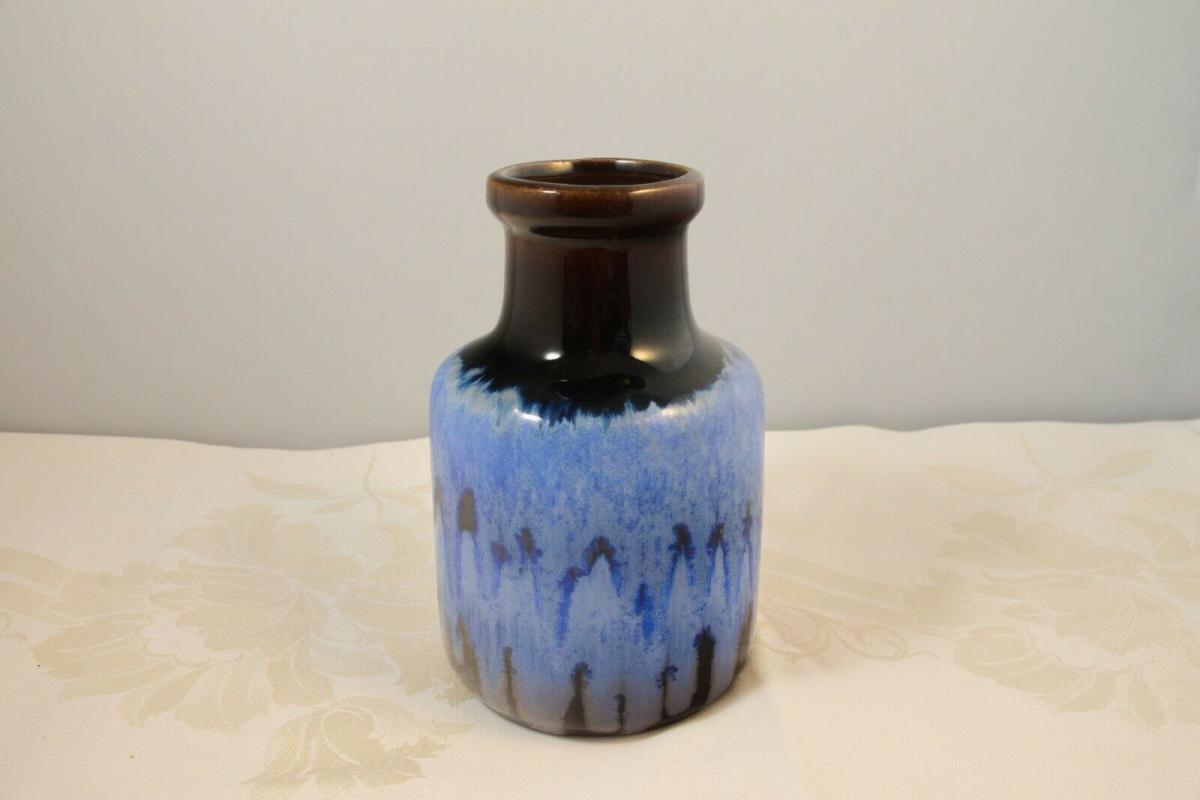Scheurich vase keramikvase krugvase 414-16 germany blauer verlauf 60er 70er 3