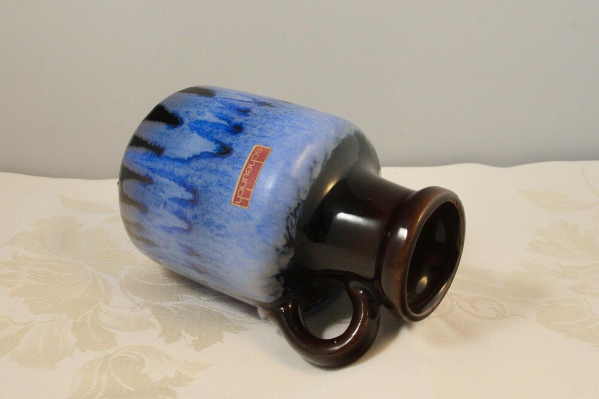 Scheurich vase keramikvase krugvase 414-16 germany blauer verlauf 60er 70er 4