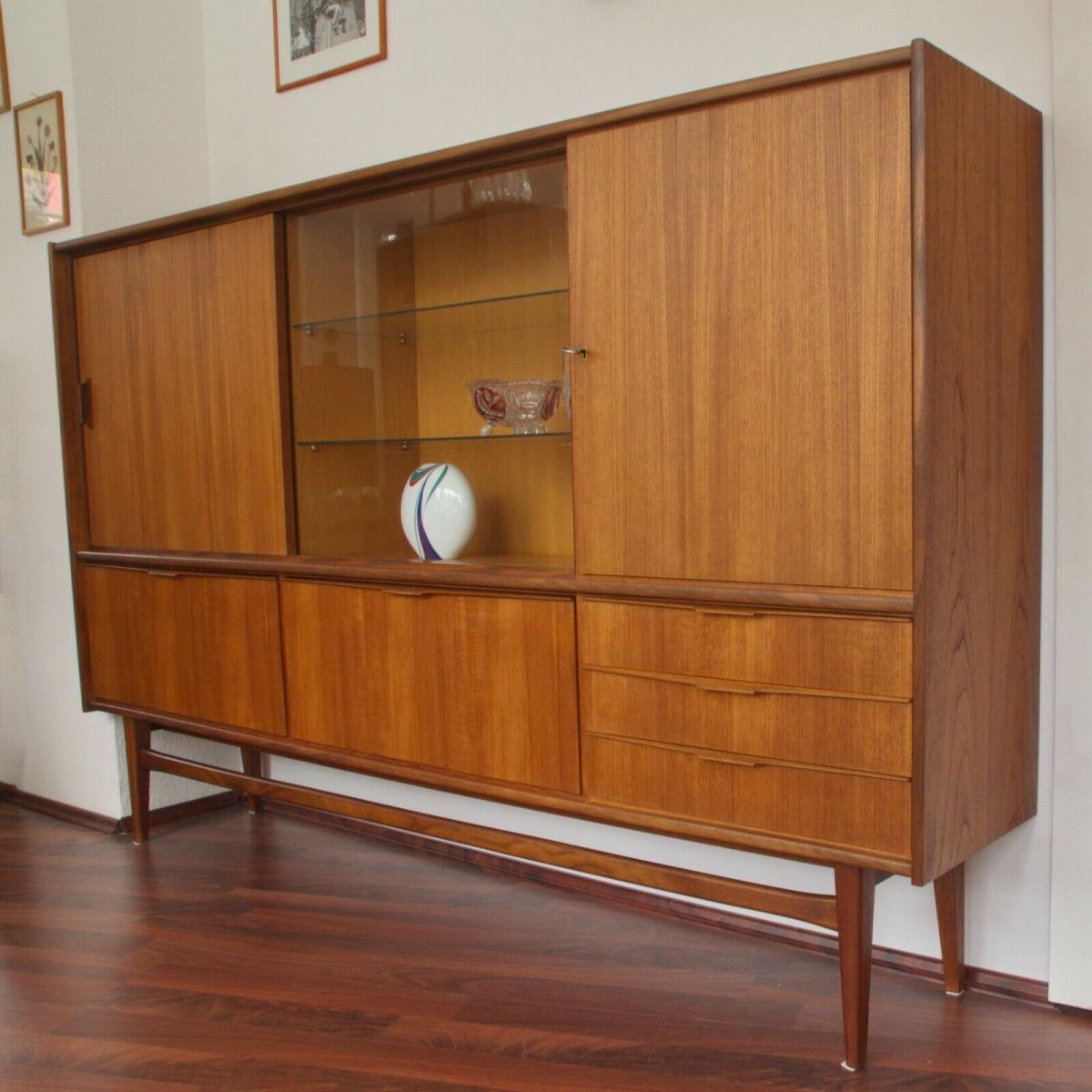 Mid century teak highboard von bartels werke 230 cm danish modern 60er jahre 0