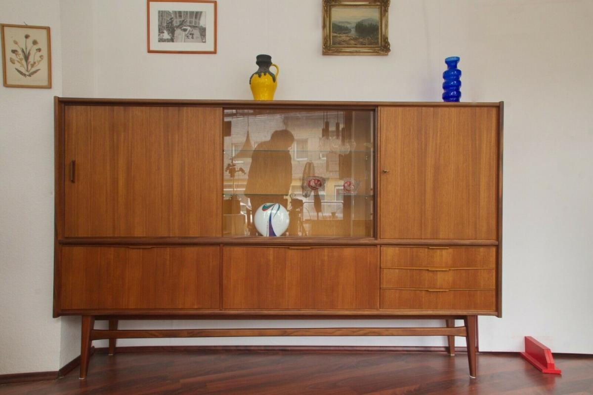 Mid century teak highboard von bartels werke 230 cm danish modern 60er jahre 1