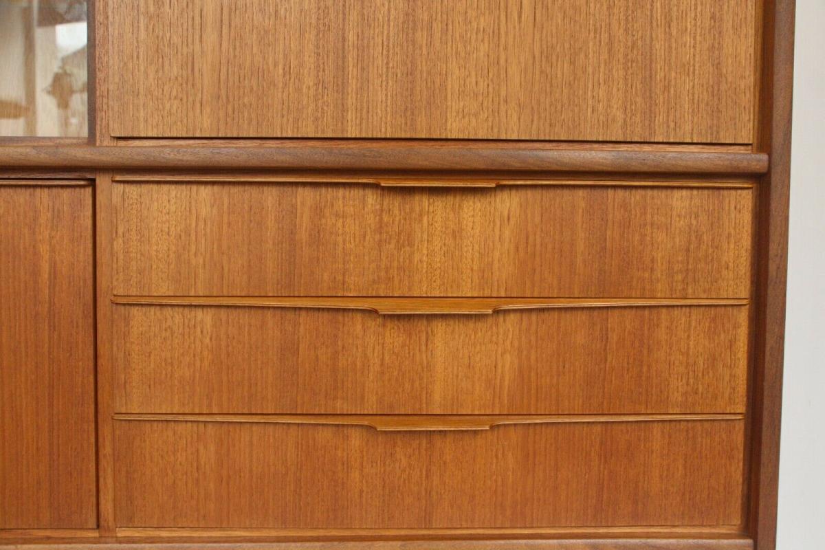Mid century teak highboard von bartels werke 230 cm danish modern 60er jahre 4