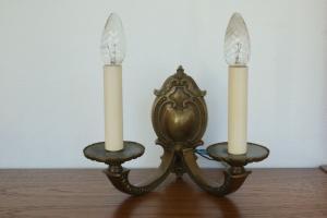 Vintage pracht wandlampe 2x lampe e14 wall lamp brass messing patina 50er jahre