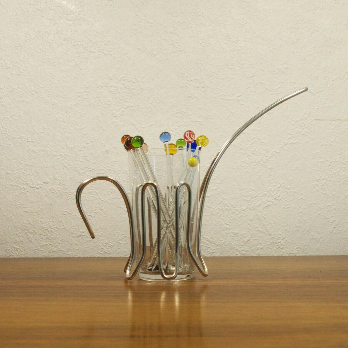 Vintage snack glas mit chrom halter & 12 glaspicker kunstglas manufaktur 60er 0