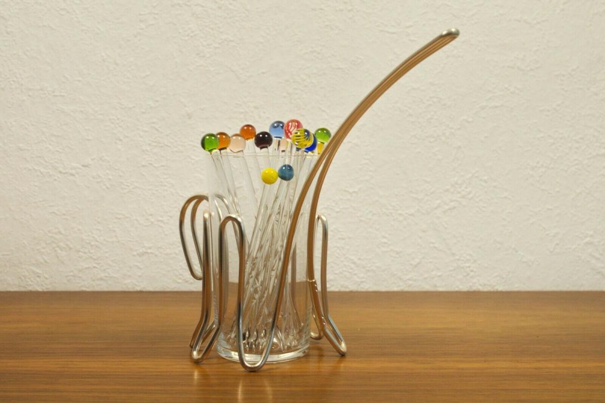 Vintage snack glas mit chrom halter & 12 glaspicker kunstglas manufaktur 60er 2